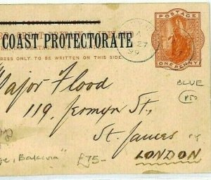 NIGER COAST Overprint Card *Fort George Bakana* Message 1899{samwells-covers}CW2