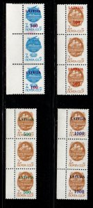 Latvia Sc 308a-311a 1991 Missing overprints stamp strips of 3 mint NH