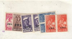 SOUTH WEST AFRICA # 145-148+150 VF-MH PAIRS CAT VALUE $20+