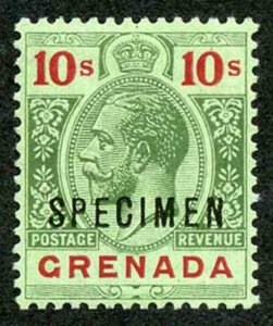 GRENADA SG101as 1913-22 Wmk MCA 10s green and red/emerald back opt SPECIMEN