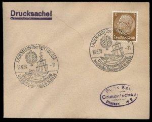 3rd Reich Germany 1938 LAUENHAIN Marine SA Meeting Cancel Cover G88353