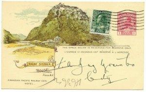 1915 CPR PERFIN uprated postal stationery illus MountStephenHouse post card