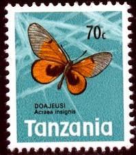 Butterfly, Acraea Ingignis, Tanzania stamp SC#43 MNH