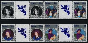 Samoa 649-52 Gutter Pairs MNH Queen Mother 85th Birthday, Royalty