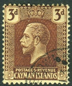 CAYMAN ISLANDS-1921-6 3d Purple/Pale Yellow.  A fine used example Sg 60b