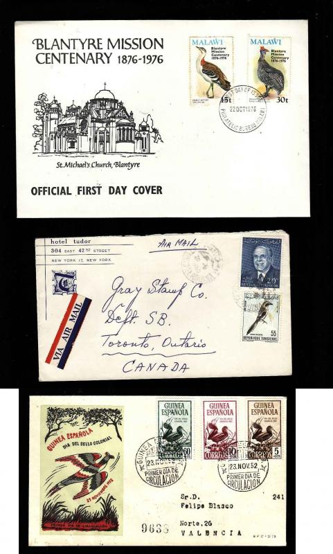Three covers with Birds on stamps-#9