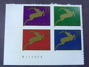 U.S.# 3356-3359-MINT/NEVER HINGED-LL PLATE# BLOCK OF 4(P#222222)-CHRISTMAS--1999