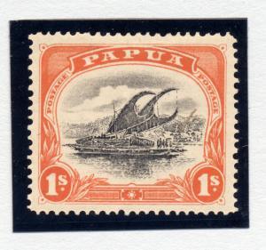 Papua 1907 sg 58 1/- blk and orange wmk upright perf 12 1/2, lm