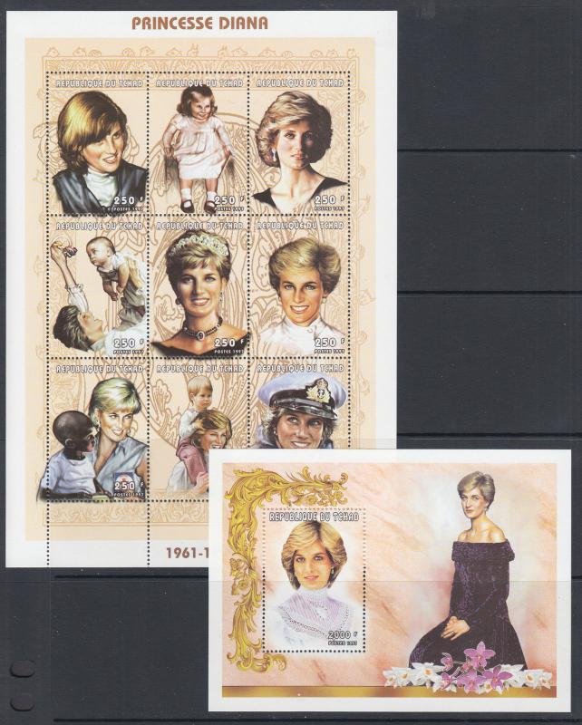 Chad Sc 749-749J MNH. 1997 Princess Diana, complete set of 2 sheets, VF.