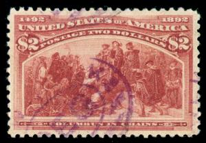 MOMEN: US STAMPS #242 USED PSE GRADED CERT XF-SUP 95