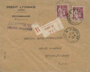 France 1.75F Peace with Olive Branch (2) 1935 Paris-42, R. de Balzac Register...