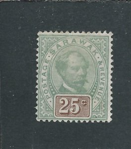 SARAWAK 1888-97 25c GREEN & BROWN MM SG 18 CAT £80