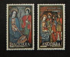Spanish Andorra 106-07. 1978 Christmas, NH