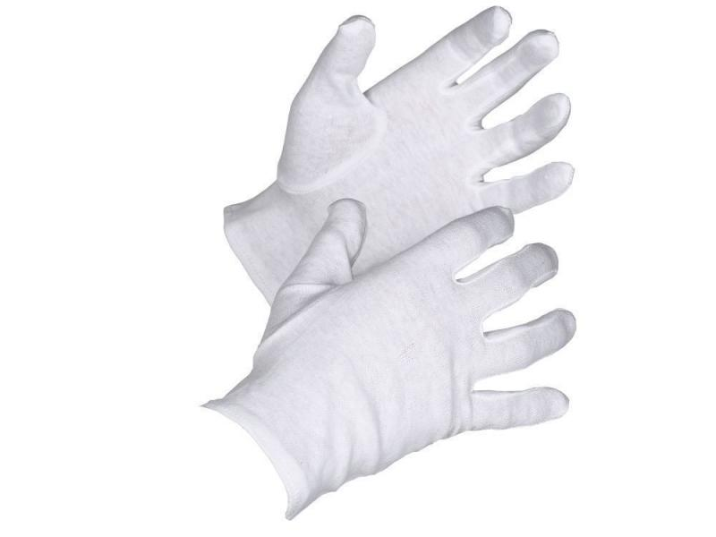 White durable soft cotton inspection gloves for coins and stamps etc.