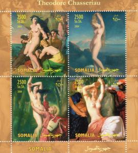 Somalia 2004 Theodore Chasseriau Nudes Famous Paintings Sheetlet (4) MNH VF