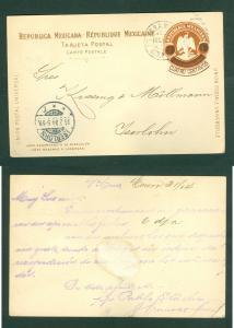Mexico. Stationery Card 1904. Eagle 3/Overprint Cuatro Centavos. Adr: Germany