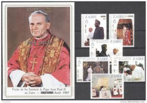 Zaire 85 Pope John-Paul II Visit set (6) +1SS mnh Mi.897/03