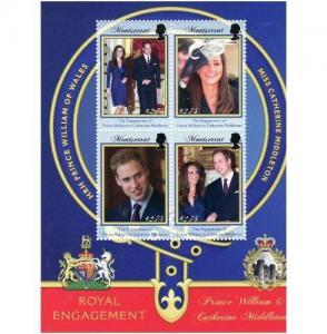 Montserrat - Royal Engagement - 4 Stamp Sheet MOT1104H