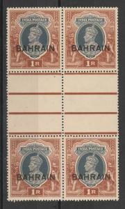BAHRAIN 1938 KGVI 1R GUTTER BLOCK */**
