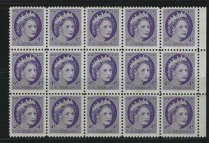 CANADA - #340p -4c QUEEN ELIZABETH II WILDING BLOCK OF 15 MNH CV: $75 CENTRE TAG
