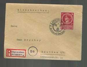 1944 Amsterdam Holland Registered Cover to Germany Dienstpost April 20