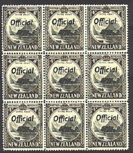 NEW ZEALAND OFFICIAL 1936 4d line perf 14 SGO126a MNH blk of 9 cat £198....93834