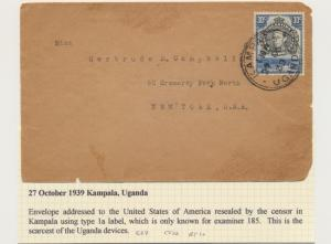 UGANDA 1939, SCARCE CENSOR(TAPE #185) COVER TO USA, 30c RATE (SEE BELOW