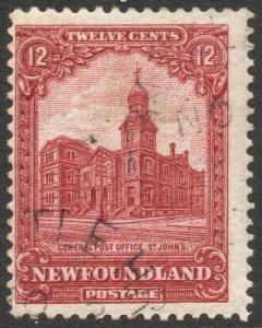 NEWFOUNDLAND-1928-29 12c Carmine-Lake Sg 173 GOOD USED V46295