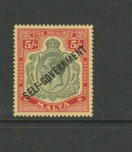 Malta 1922 Self Govt Crown CA 5/- fresh MM SG 113