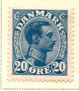 Denmark Sc 103 1913 20 ore deep blue Christian X  stamp mint