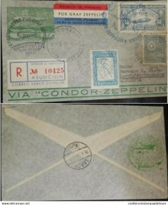 A) 1936, PARAGUAY, GRAF ZEPPELIN, FROM ASUNCION TO GERMANY, AIRMAIL, REGISTERED,
