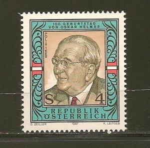 Austria Oskar Helmer 1987 Issue MNH