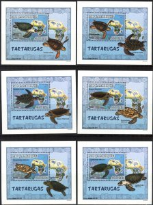 {135} Mozambique 2007 Turtles 6 S/S Deluxe MNH**