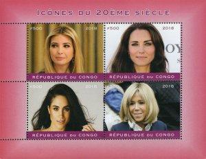 Congo 2018 Female Personality Icons 4v Mint Sheet. (#27)