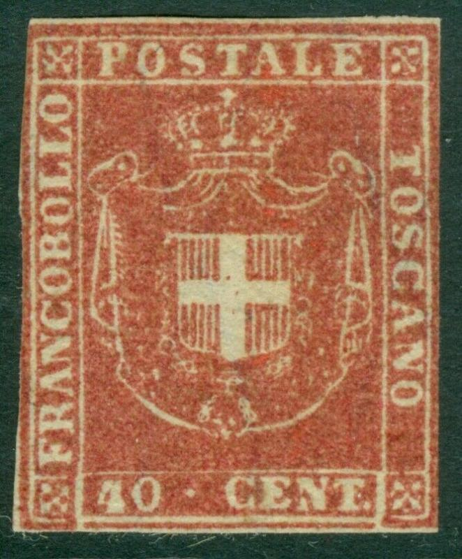 EDW1949SELL : ITALIAN STATES Tuscany 1860 Scott #21 VF, Mint NG RARE Cat $22,000