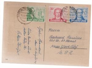 1949 Berlin Spandau West Germany Goethe postcard Cover comp set # 9N61 to 9N63