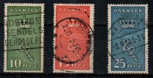 Denmark Scott B3-5 Used (Catalog Value $80.25)