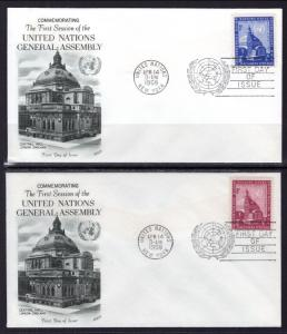 UN New York 61-62 General Assembly Fleetwood U/A Set of Two FDC