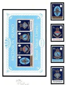 Ascension Is 126-29a MNH 1969 Naval Ship Crests