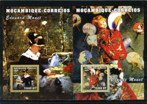MOZAMBIQUE 2001 PAINTINGS BY C.MONET & E.MANET 2 S/S PERF. & IMPERF.MNH