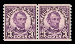 MOMEN: US STAMPS #600 COIL PAIR MINT OG NH PSE GRADED CERT XF-SUP 95