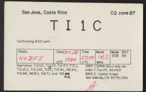 QSL CARD TI1C,Arien T. Turriff,84,San Jose,Costa Rica(Q4506)