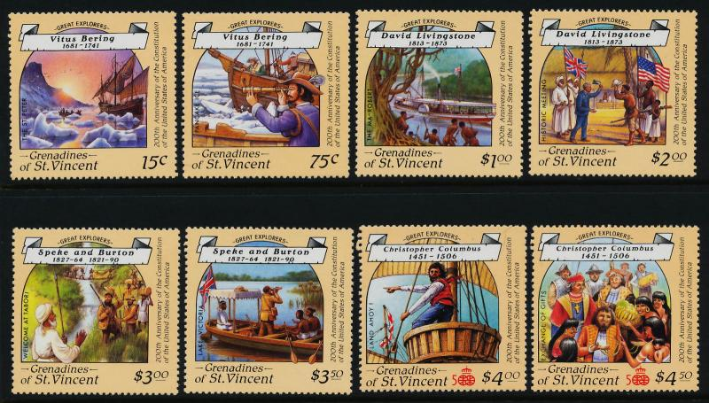 St Vincent Grenadines 596-603 MNH Ships, Great Explorers, Flags