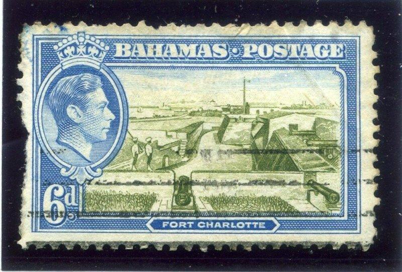 BAHAMAS;  1938 SCARCE Missing ' A ' in Crwon CA Wmk. on 6d. used