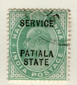 INDIA PATIALA;  1903-10 early Ed VII SERVICE Optd. issue fine used 1/2a. value