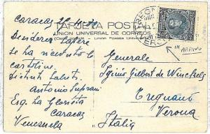 VENEZUELA -  POSTAL HISTORY: Postcard to Italy - stamp cancelled on ARRIVAL 1932