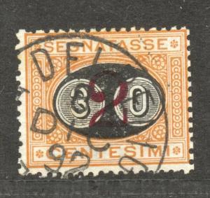 Italy, Postage Due, 1890, overprint 30 C on 2 C, VF  used, Scott # J 27,