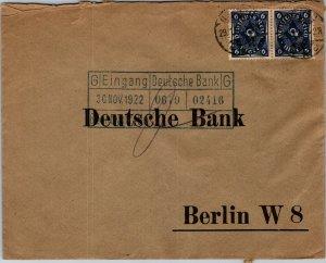 1922 Preprinted reply Deutsche Bank Berlin 2 6 mark stamps