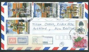 THAILAND 2001 Registered cover to New Zealand - great franking.............11929
