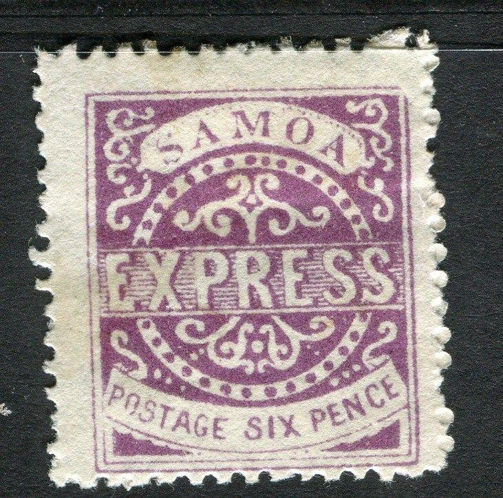 SAMOA early 1870s classic type unused EXPRESS issue ( reprint ? ) 6d. value